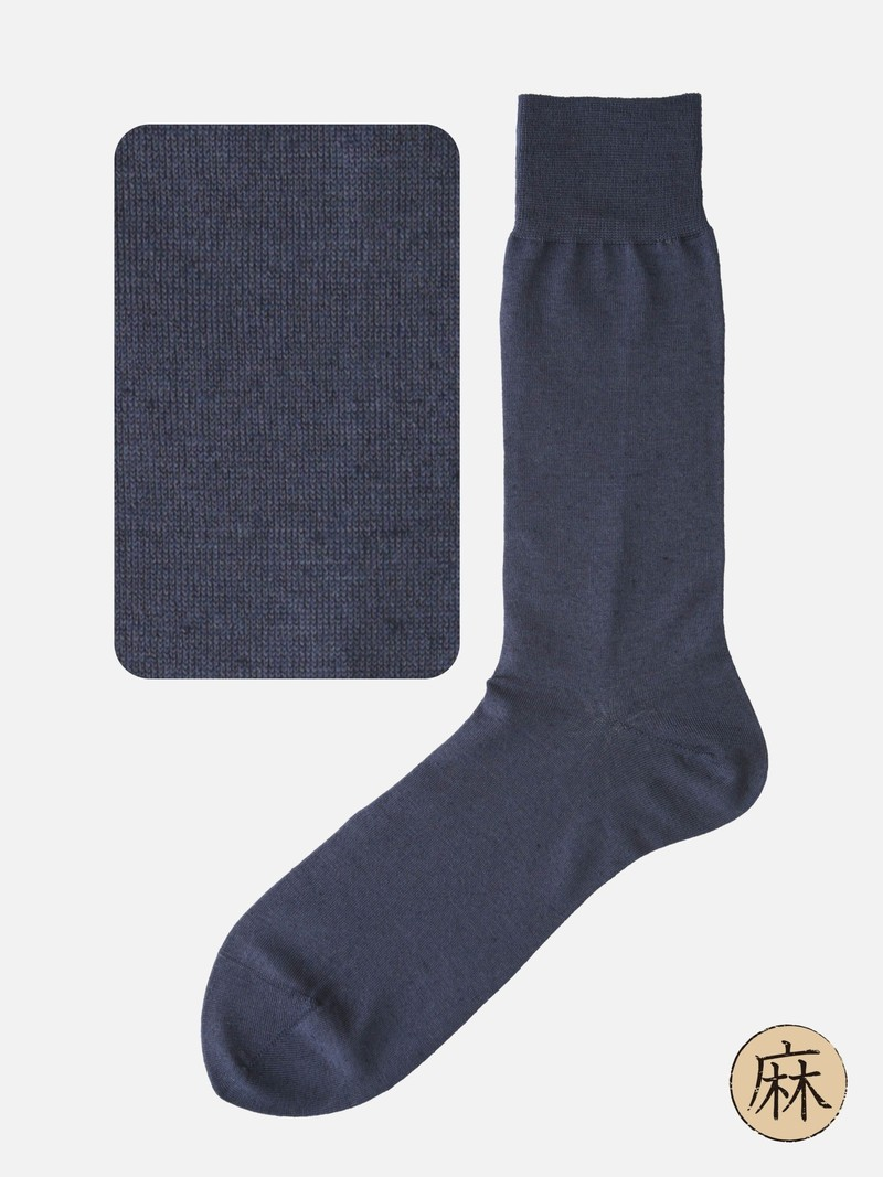 Cotton/Linen Plain Mid-Calf Socks M