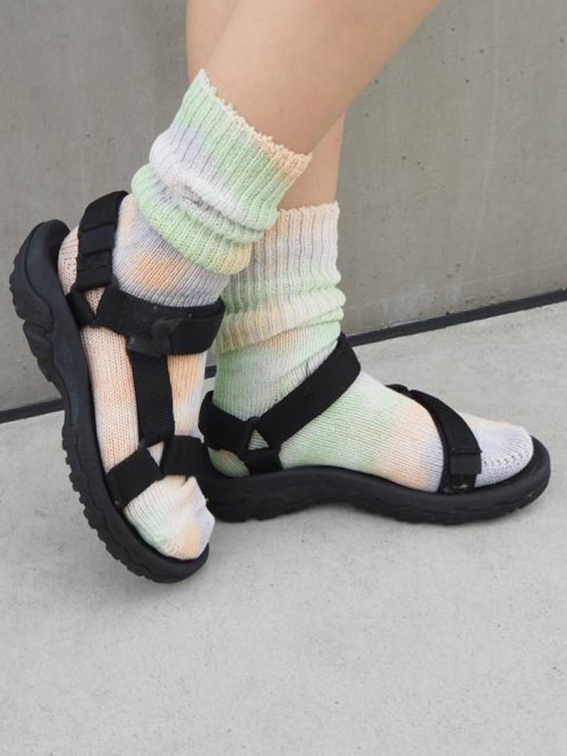 Cotton Ribbed Tie-Dye Loose Socks