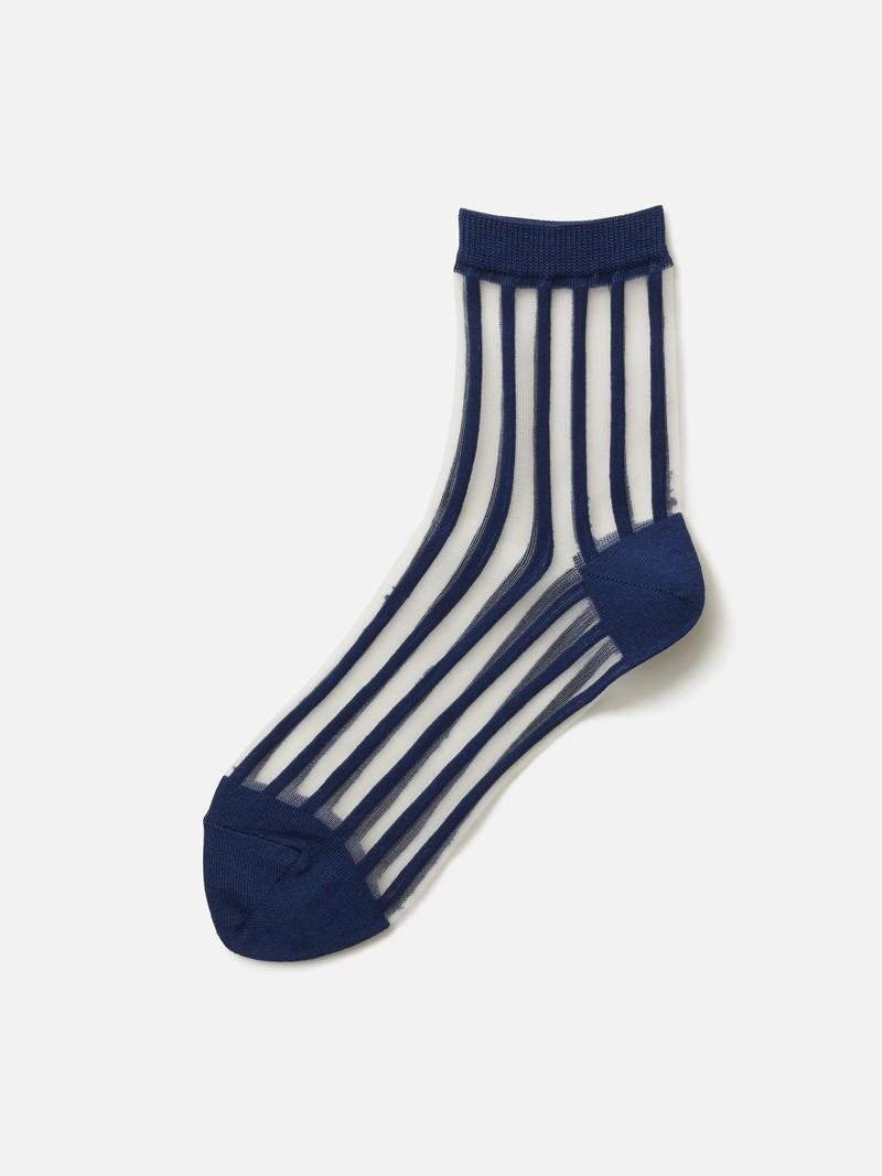 Sheer Stripe Panel Ankle Socks
