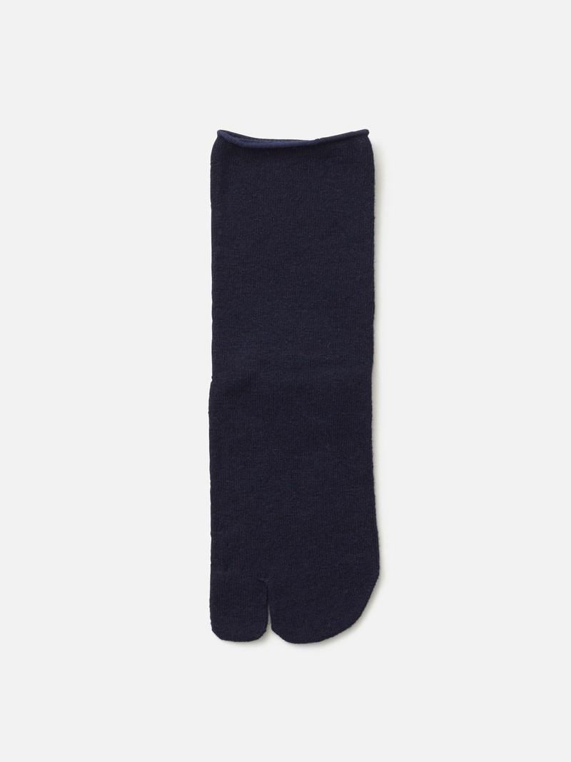 Socquette Tabi laine d'agneau unie bord roulé