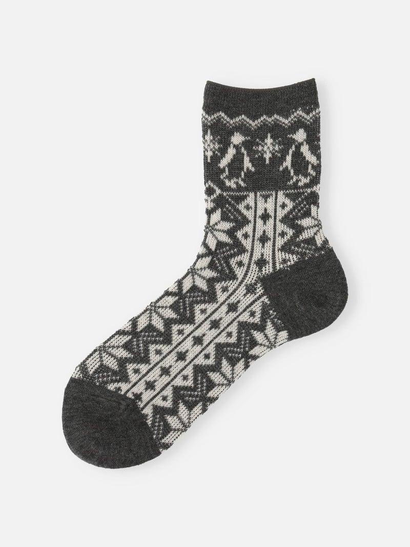 Lambswool Snow Penguin jacquard Sock