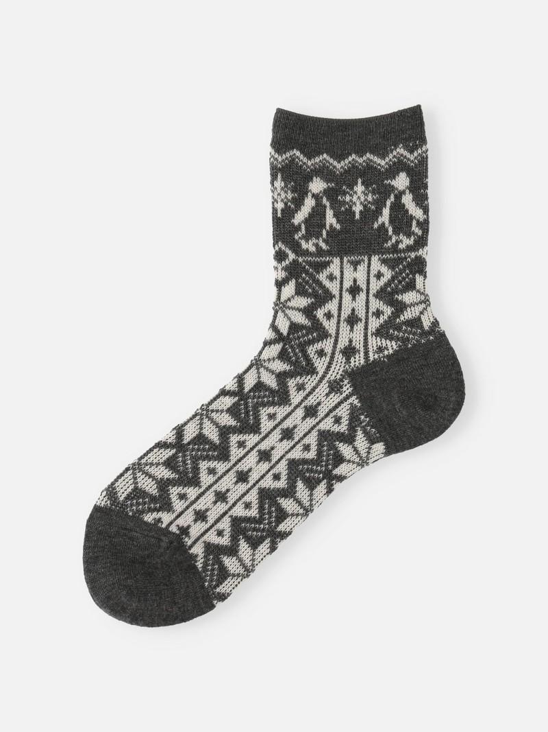 Lambswool Snow Penguin jacquard Socke