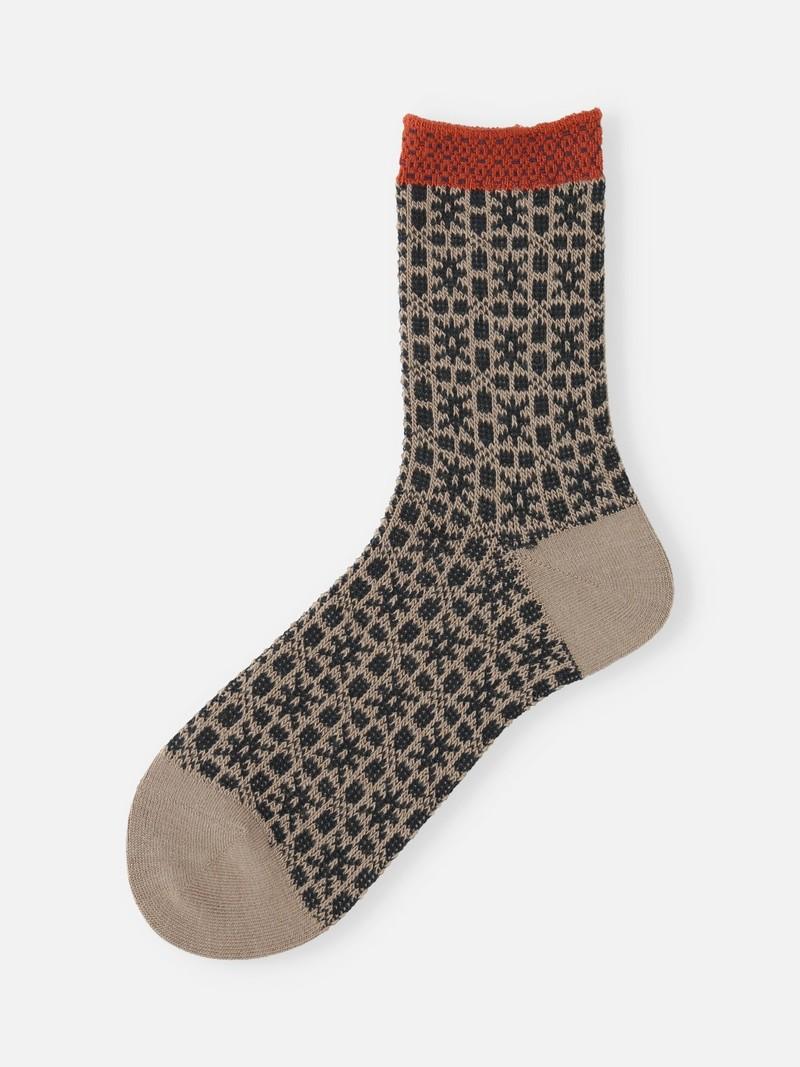 Jacquard Latvian Pattern Low Crew Socks