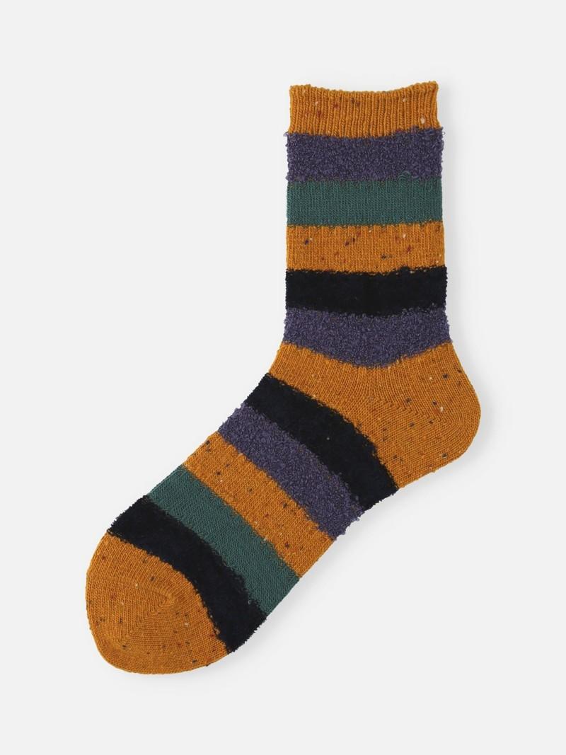 Wool Mixed Yarn Striped Low Crew Socks