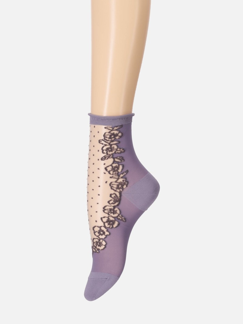 Doorzichtige sok met viooltje en stippen