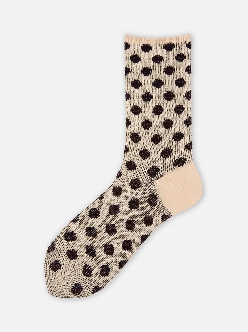 Grandi calzini al ginocchio in jacquard a pois