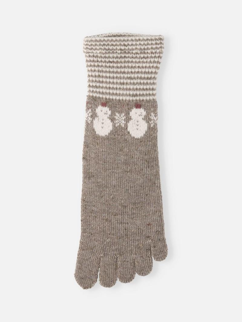 Merino Wool Snowman Crew Toe Socks