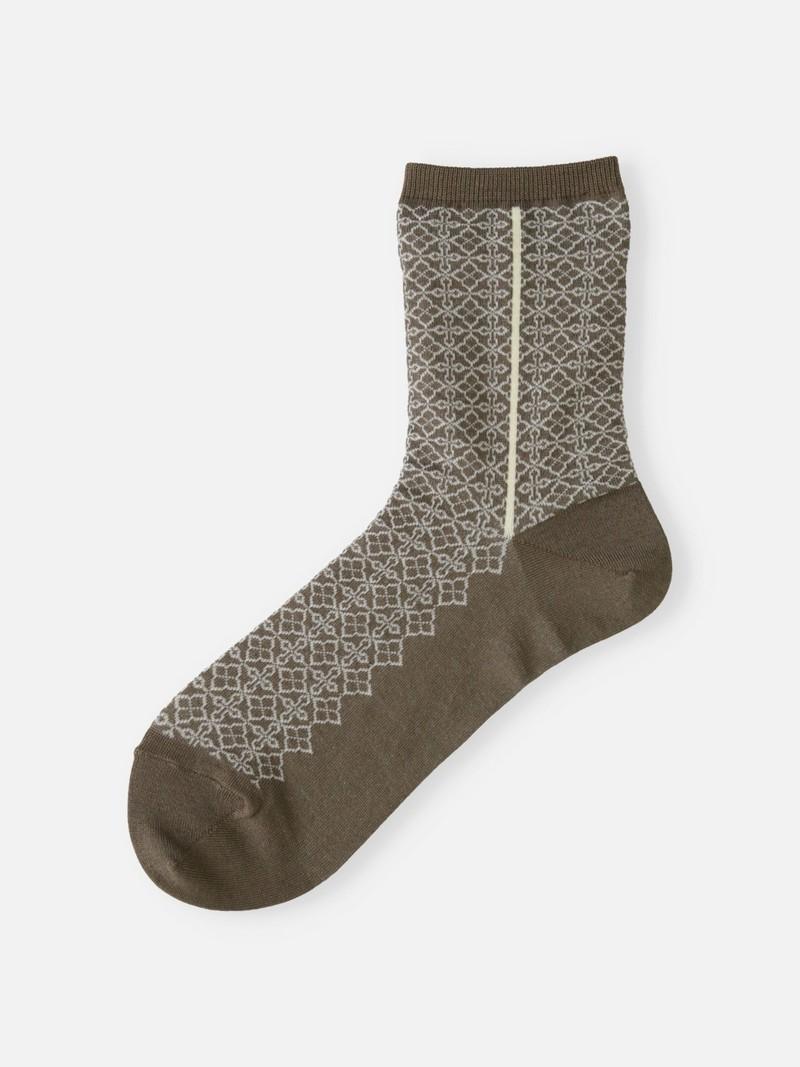 Morrocan Pattern Side Line Crew Socks