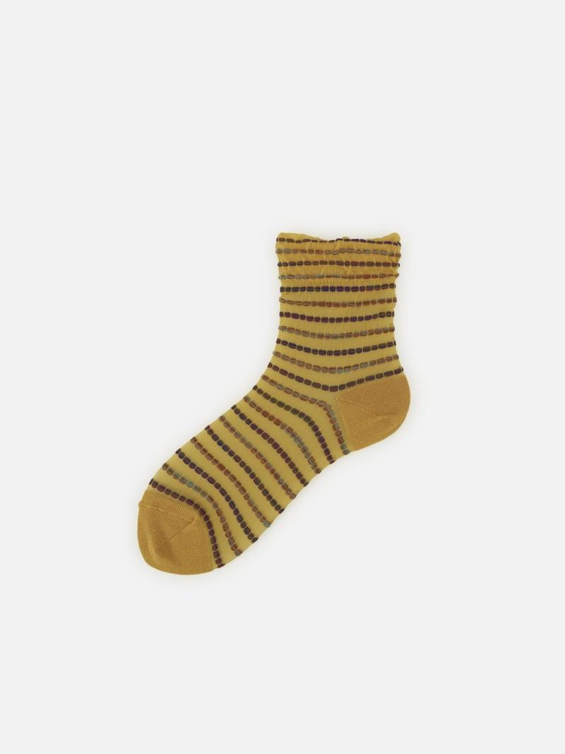 Multi Picot Coloured Stripe Low Crew Socks