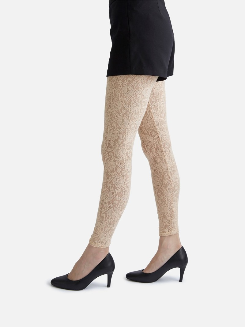Leggings lunghi in pizzo elasticizzato peonia M
