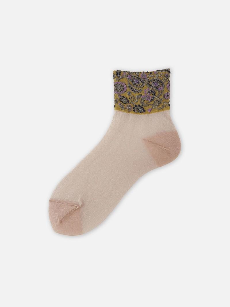 Halbtransparente Socke mit Paisley-Kante