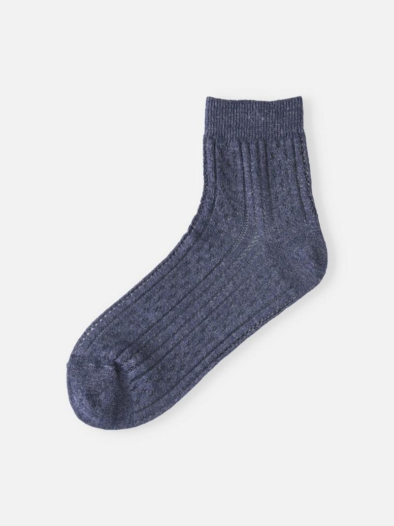 Vertikale durchbrochene Socke aus Cupro / Hanf