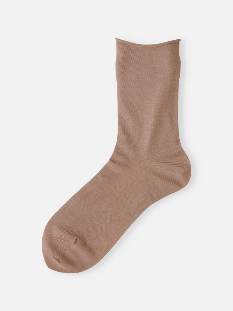 Socquette unie en soie premium bord roulé