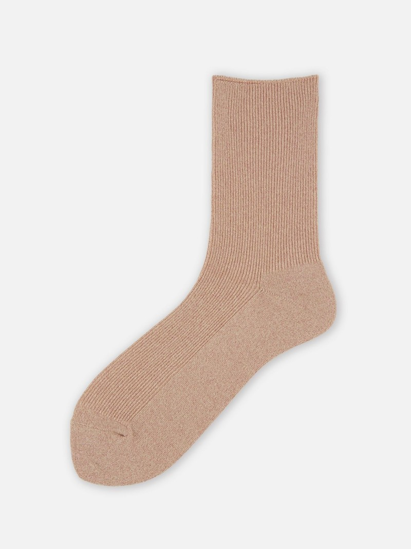 Calzini al ginocchio in lamé morbido lucido a coste sottili