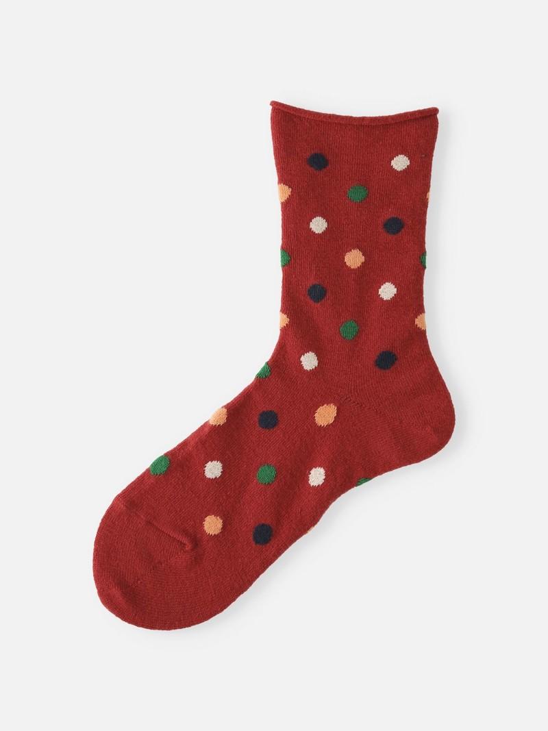 Wool Roll Top Multi Dots Crew Socks