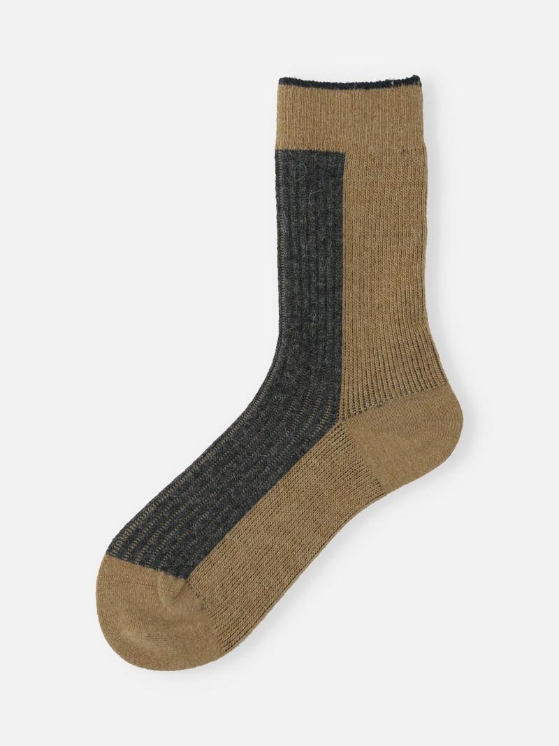 Mi-chaussette laine Mérinos côtes bicolore linking