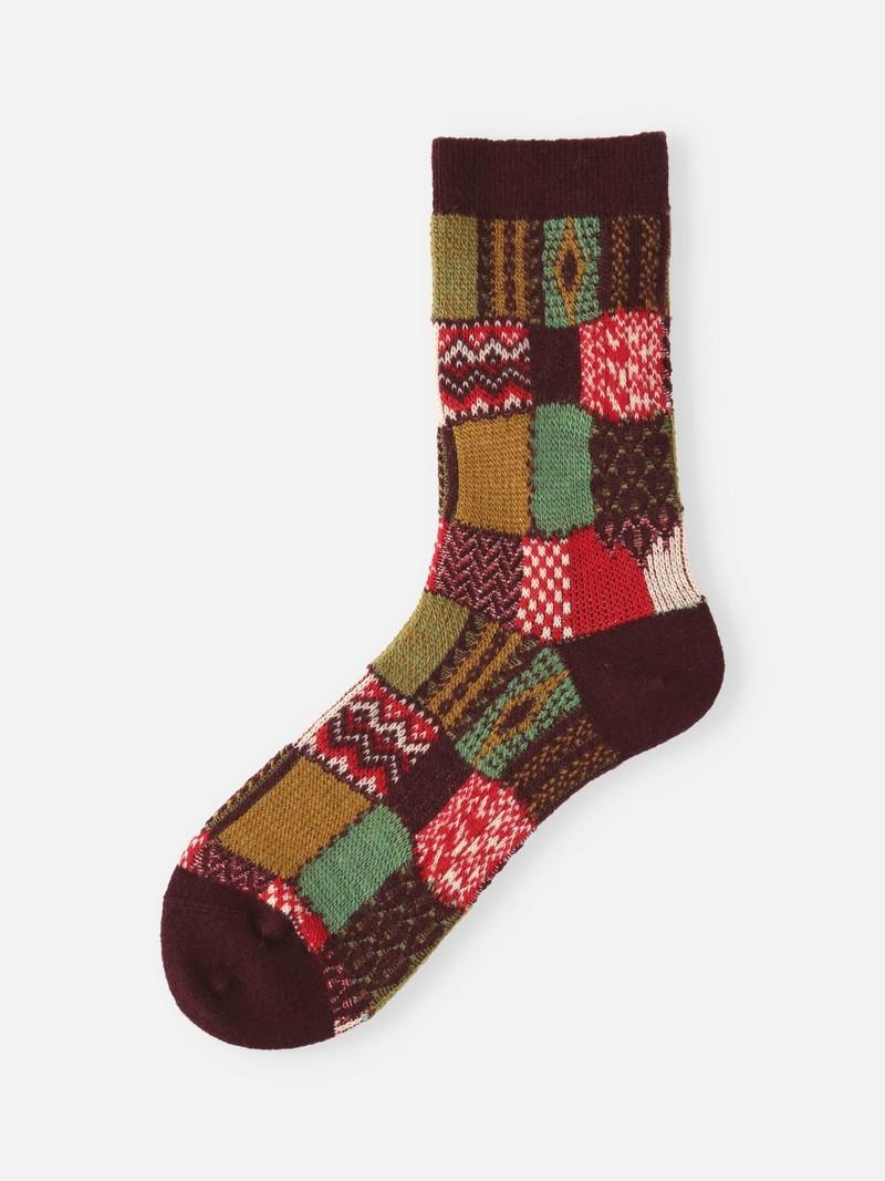 Mittlere Socken aus Patchwork-Jacquardwolle