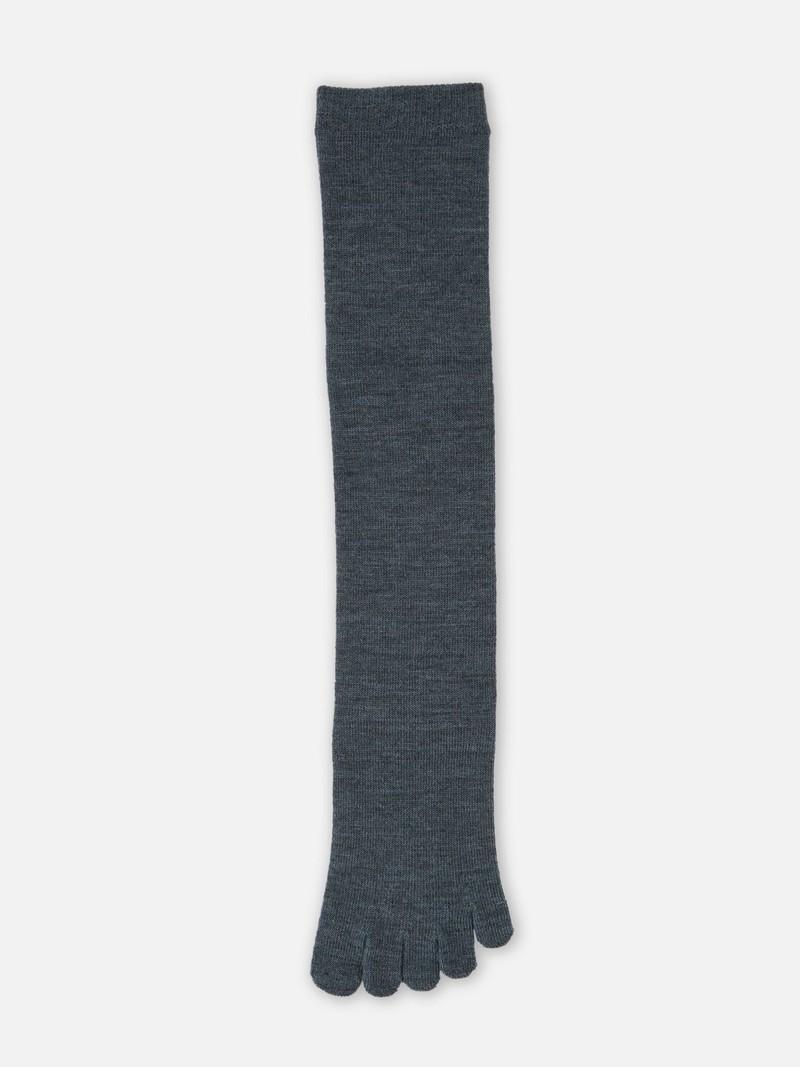Chaussette haute 5 orteils unie en laine Mérinos
