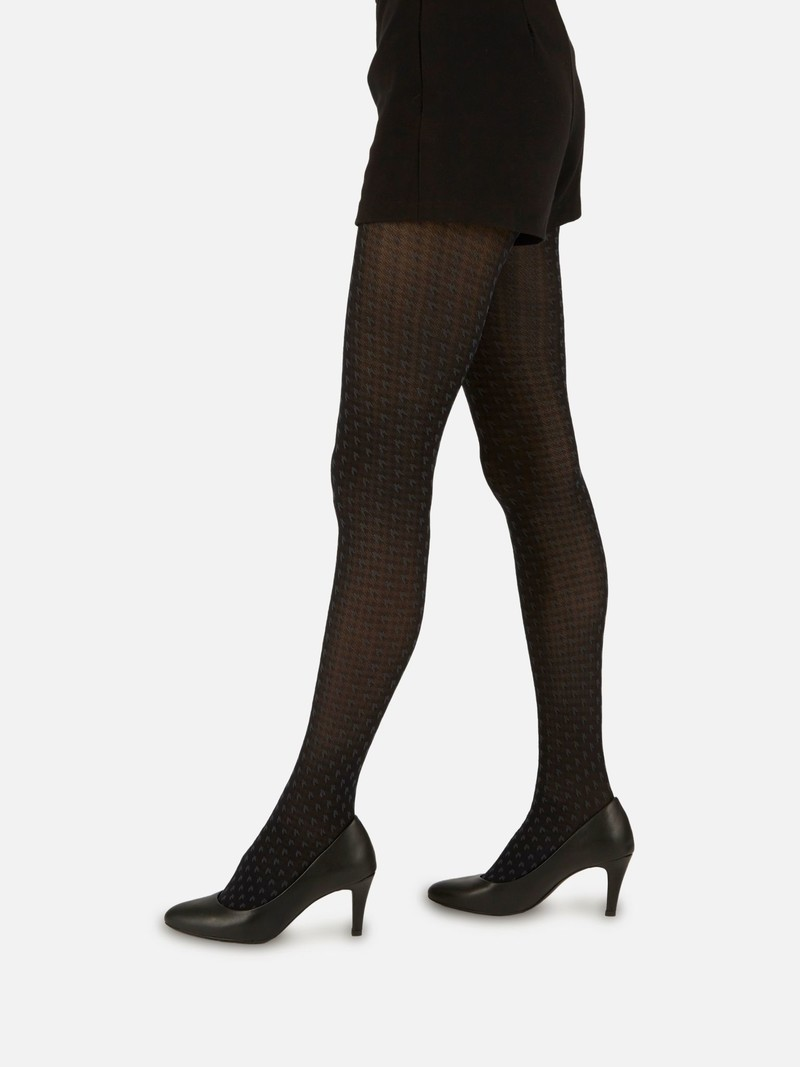 Houndstooth Mesh 40D Tights
