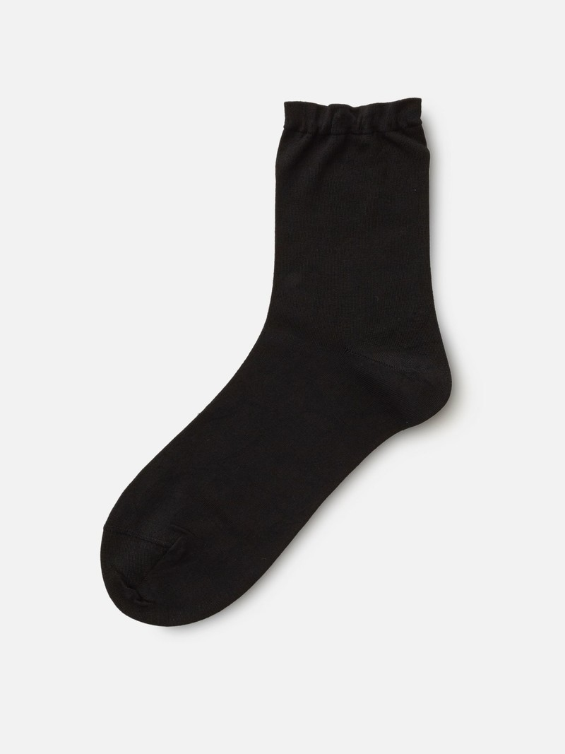 Silk Plain Soft Top Low Crew Socks