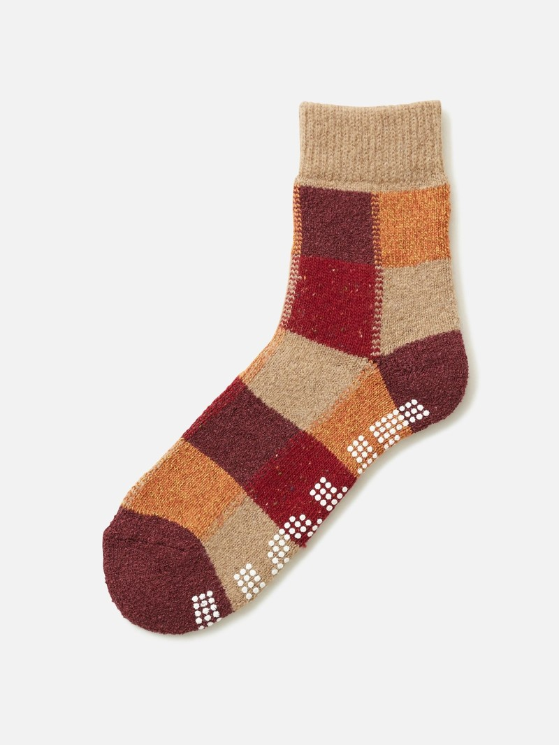 Block Pattern Grip Room Socks M