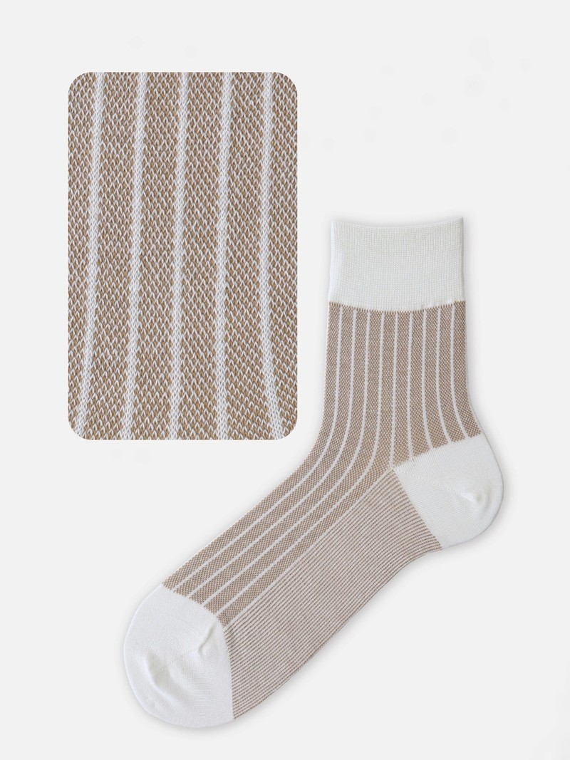 Socquette jacquard rayures lin/coton M