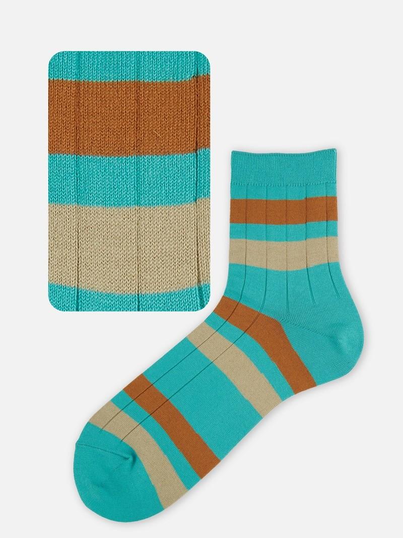 Gerippte Socke mit breiten farbigen Streifen M