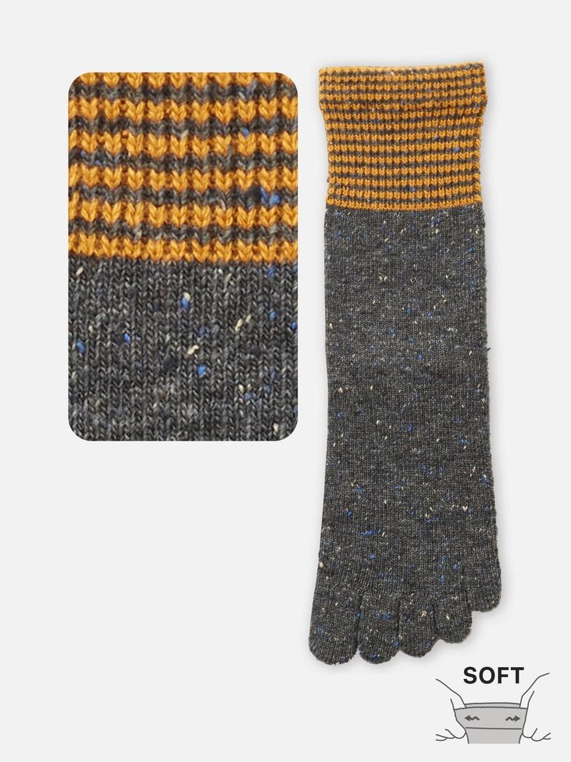 Mi-Chaussette haute aussette 5 orteils laine bord rayures