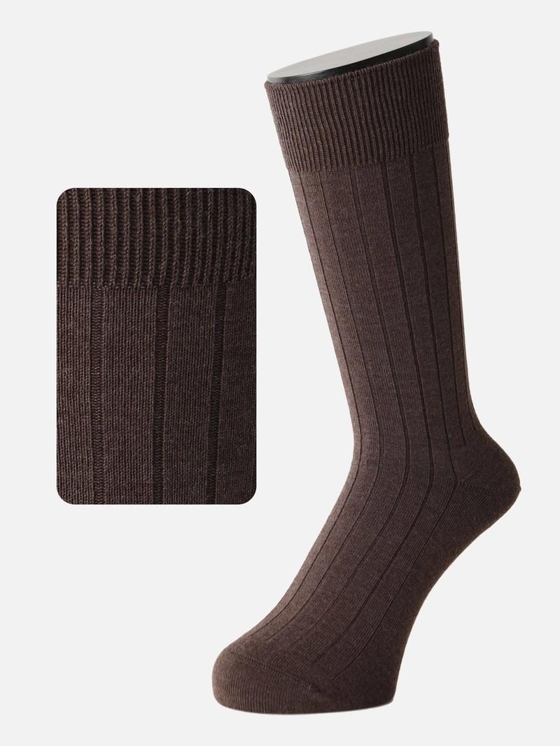 Mi-chaussette laine Mérinos côtes 9x2 M