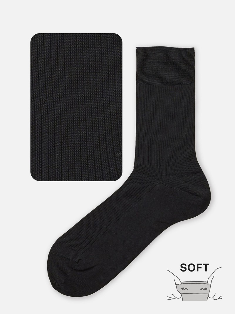 Non-Elastic Plain Rib 220N Crew Socks M