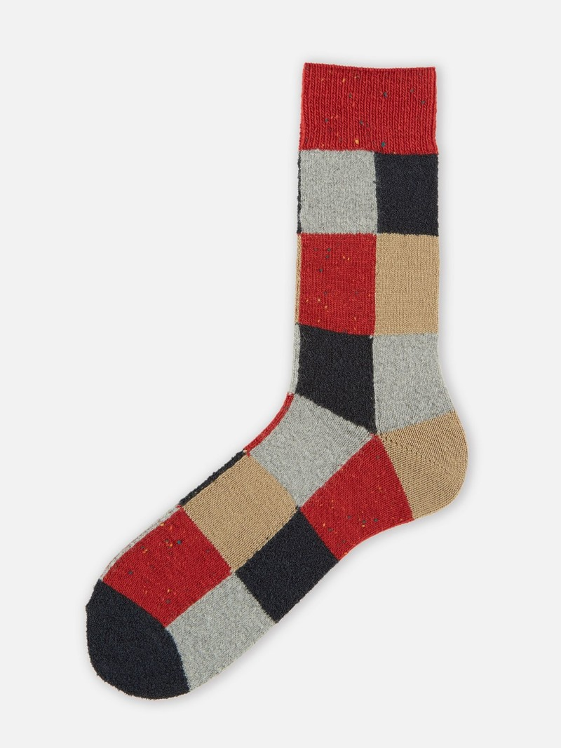 Patchwork Wolle Mittelsocke M