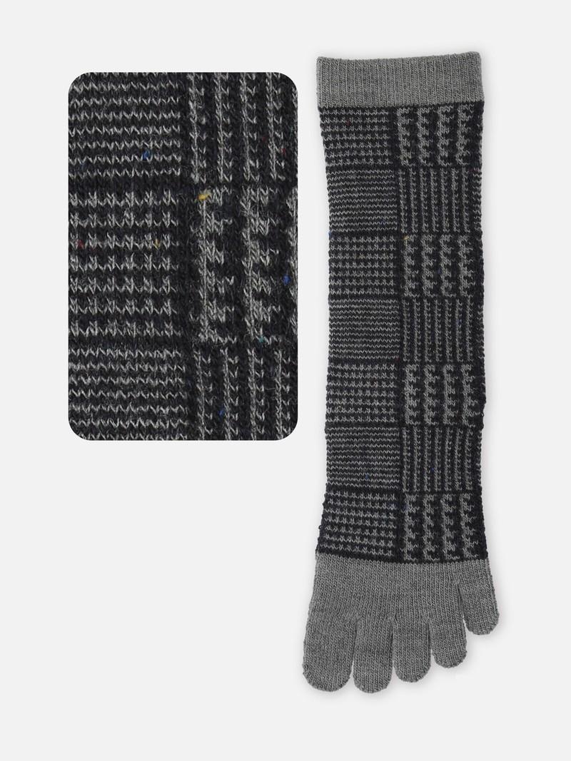 Wool Glen Check Toe Crew Socks M