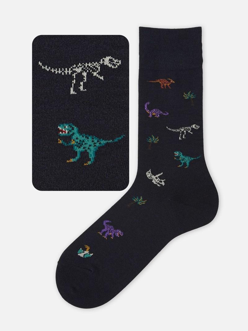 Dinosaur Pattern Crew Socks M