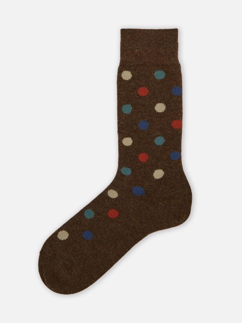 Mi-chaussette pois multi-couleurs laine Mérinos 156
