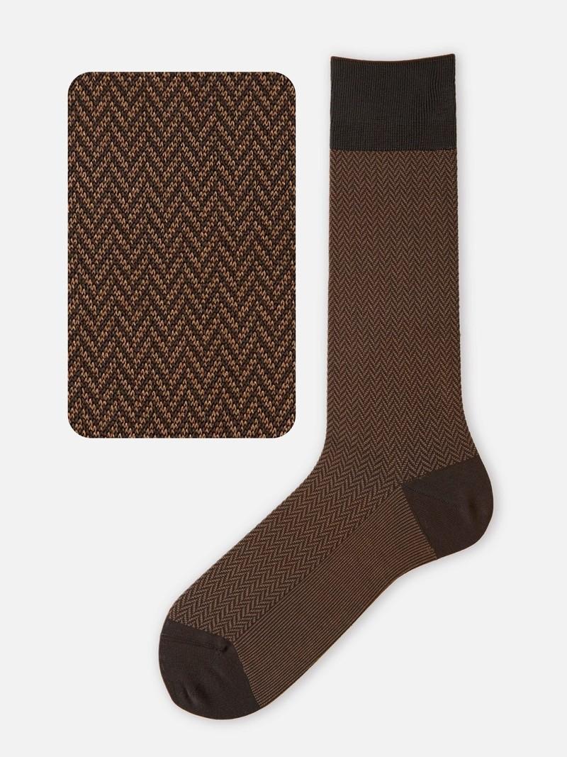 Jacquard-Socken mit Fischgrätmuster M