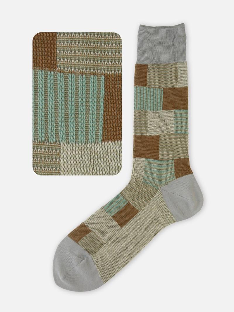 Coloured Block Pattern Mid-Calf Socks M