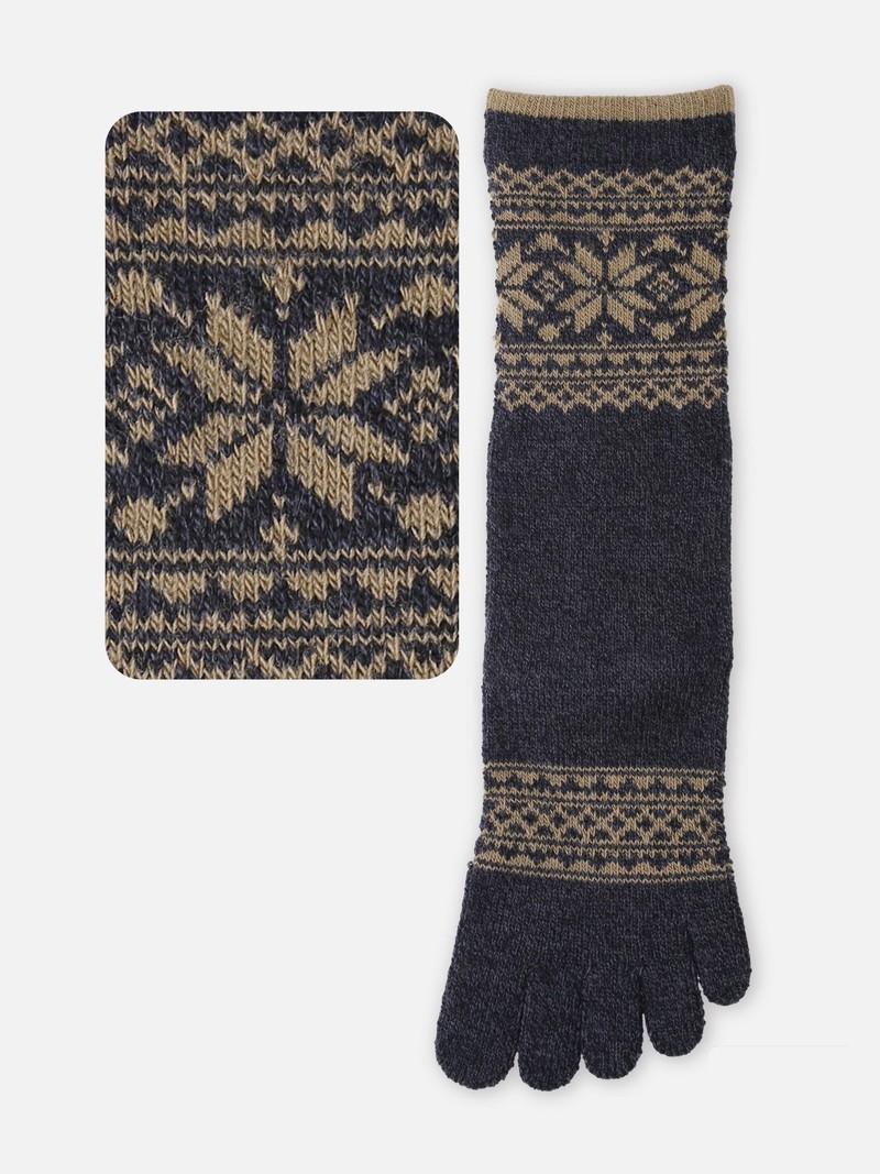 Mittelhohe Socke mit 5 Zehen aus Schneekantenwolle