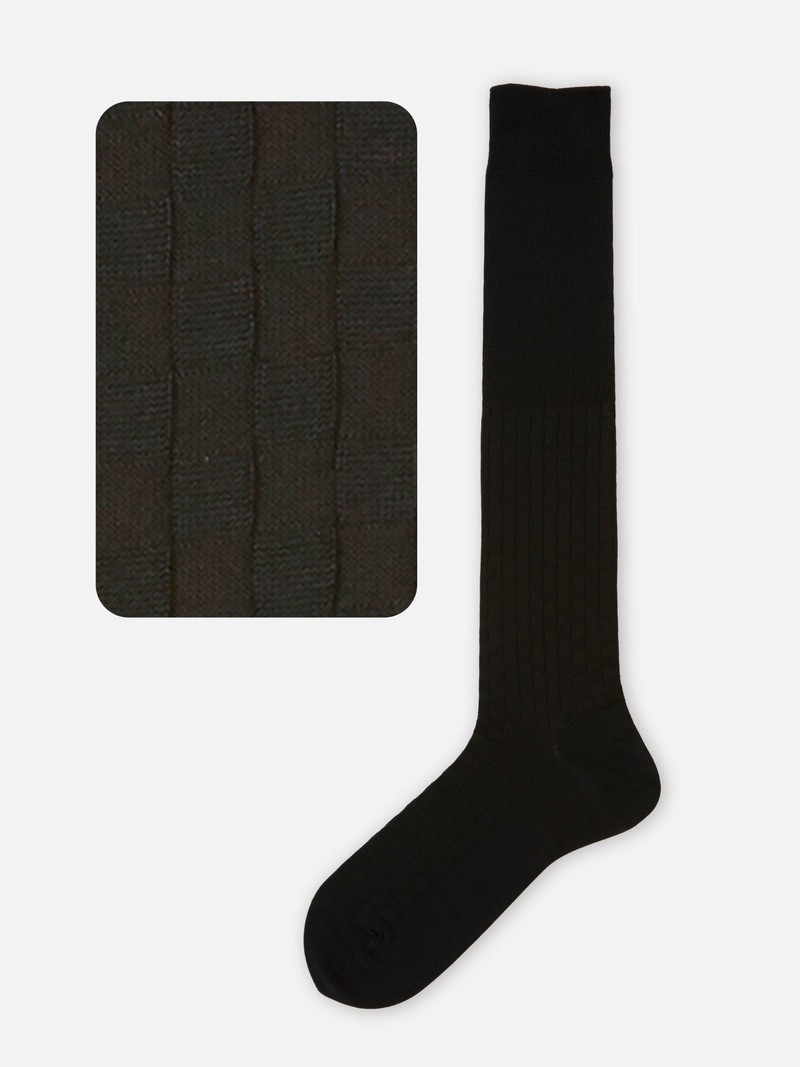 Damier Pattern Knee High Socks L