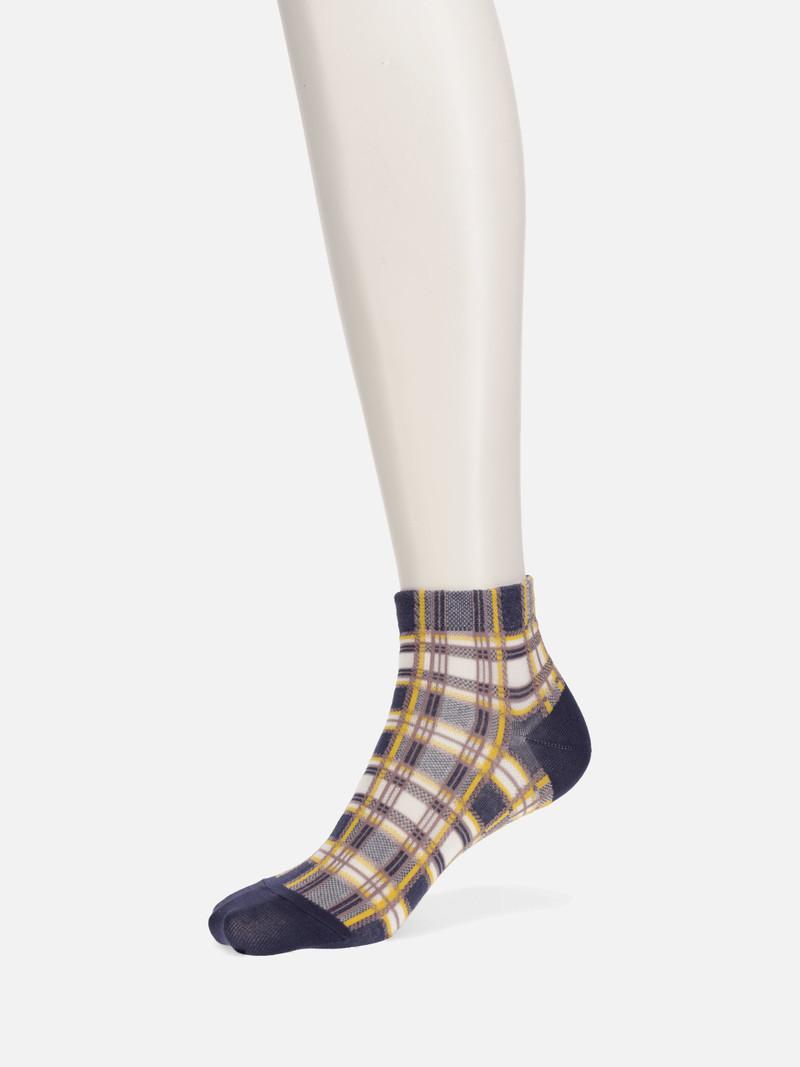 Madras Check Trainer Socks