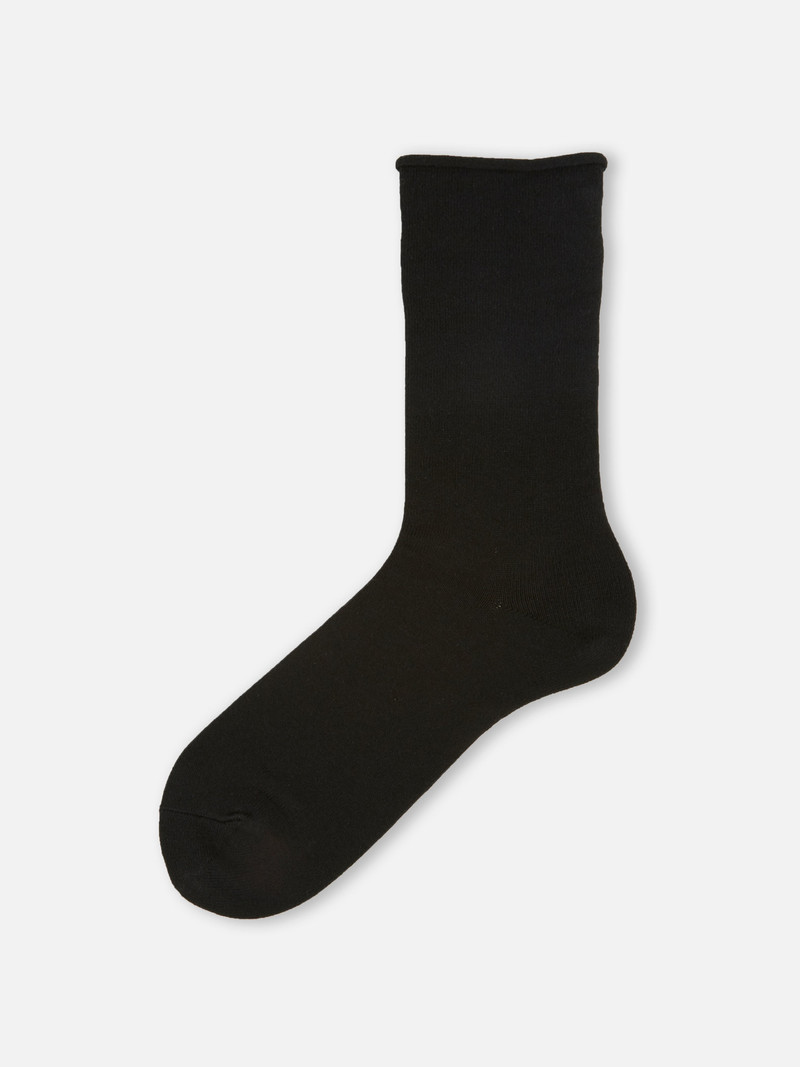 Mittellange Socke Rolled Edge Man Plain L