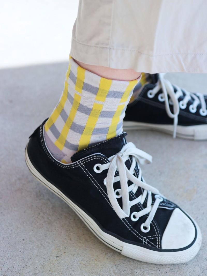 80'S Retro Check Low Crew Socks