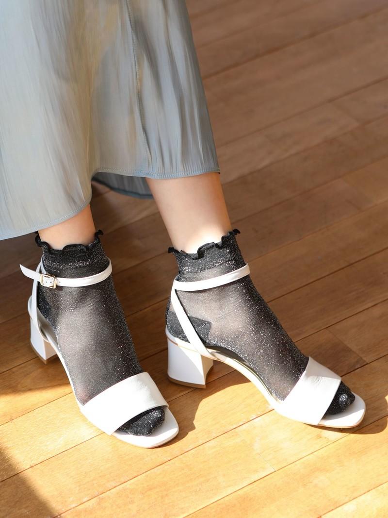 Top Mellow Sheer Lamé Short Ankle Socks
