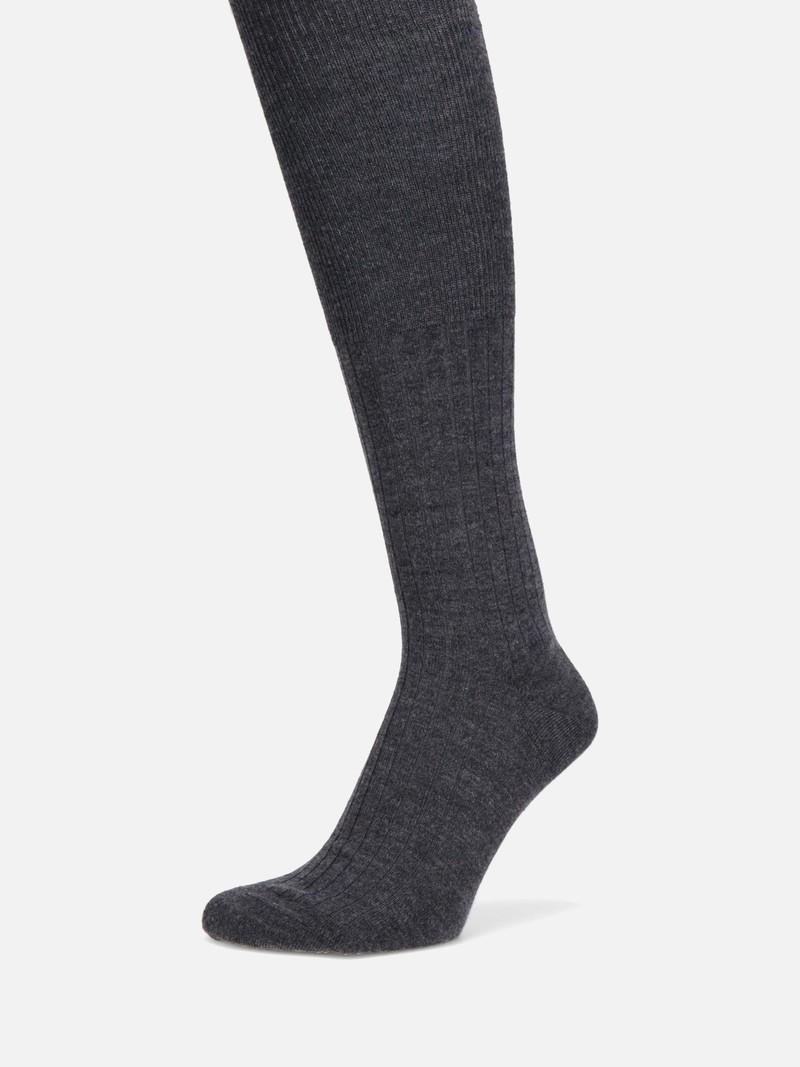 Merino Wool 6x2 Ribbed High Socks L