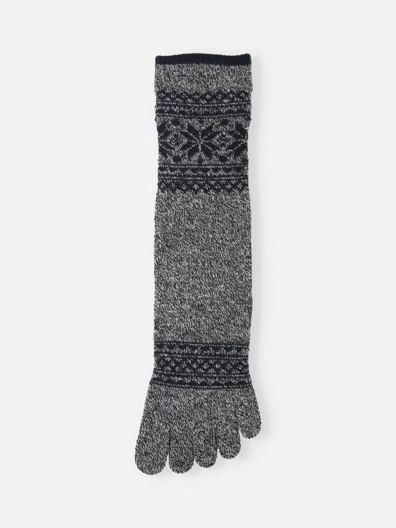 Calzino medio-alto con 5 punte in lana bordo neve