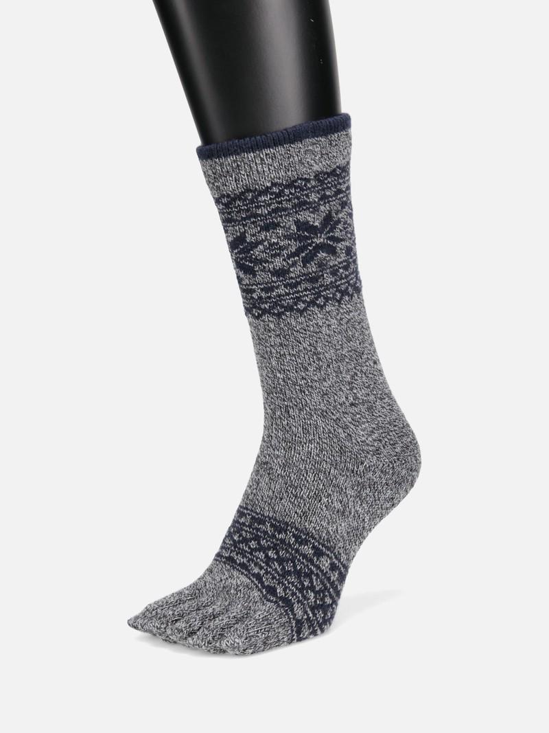 Wool Top Snowflake Toe Crew Socks M