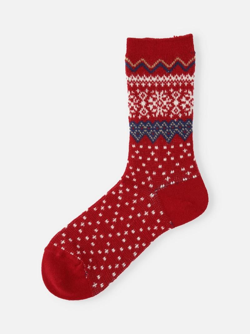 Halflange sokken van merinowol met Scandinavisch patroon en jacquardpatroon