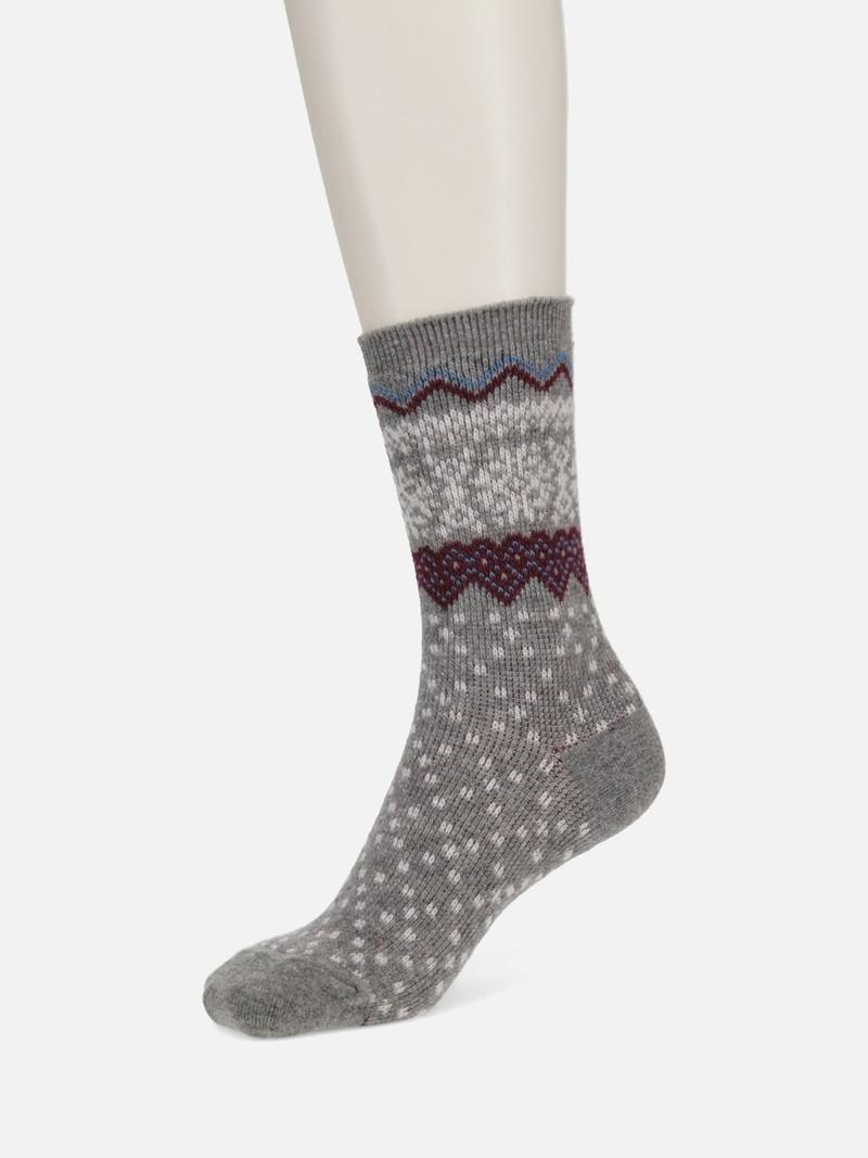 Mi-chaussette laine Mérinos jacquard motif nordique