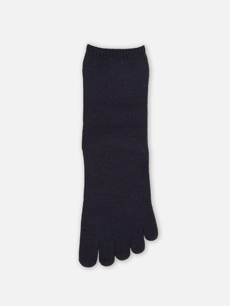 Einfache Merino 5-Zehen-Socke mit flacher Kante