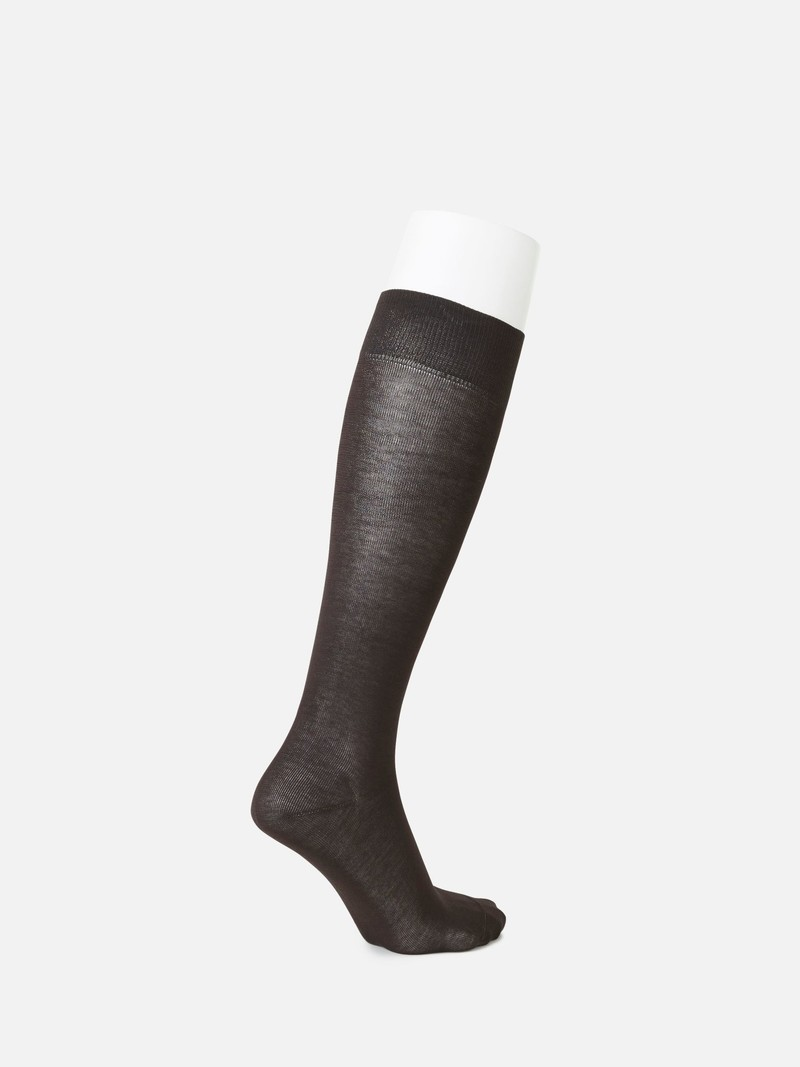 Chaussette haute unie pur coton L