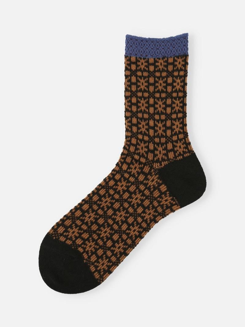 Socquette laine jacquard motif letton